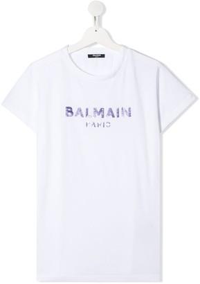 Balmain Kids TEEN sequin logo T-shirt