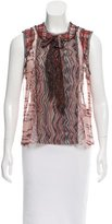 Anna Sui Abstract Print Sheer Top
