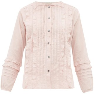 Queene and Belle Ashley Ruffled And Pleated Cotton Blouse - Womens - Light Pink