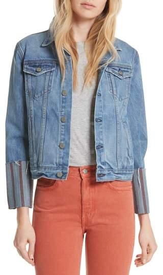 GRLFRND Bianca Stripe Cuff Denim Jacket