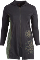 Aller Simplement Black & Green Floral-Accent Zip-Up Hooded Jacket - Plus