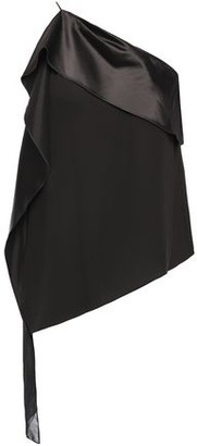 Halston One-shoulder Satin And Georgette-paneled Crepe Top