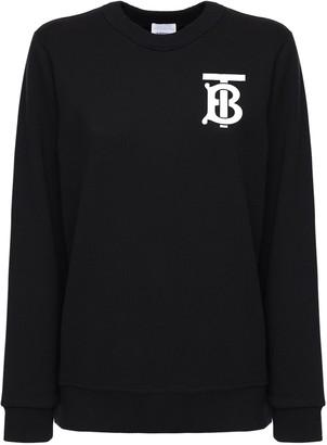 Burberry Logo Cotton Jersey Crewneck Sweater