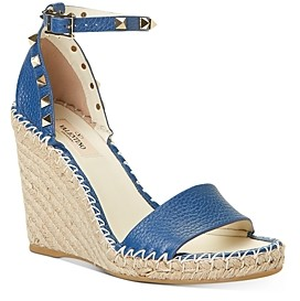 Valentino Women's Rockstud Double Espadrille Wedge Sandals