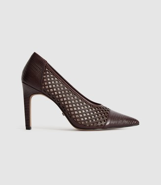 Reiss Clover Lizard - Leather Cut Out Detailed Heels in Pomegranate