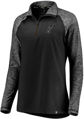 Möve Women's Fanatics Branded Black/Heathered Black San Antonio Spurs Made to Static Performance Raglan Sleeve Quarter-Zip Pullover Jacket