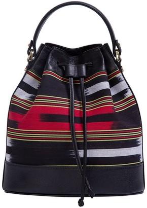 Kuz Calf Leather Black Bag With Handloomed Peshtemal Fabric