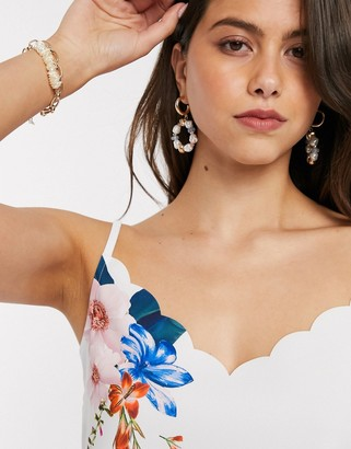Ted Baker ratana jamboree floral scalloped cami in ivory