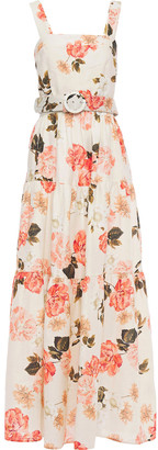 Nicholas Belted Gathered Floral-print Linen Maxi Dress