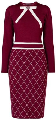 Mulberry Rumour London Chloe Bow Jacquard Knitted Dress in