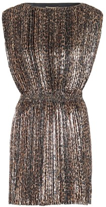Saint Laurent Pleated leopard-print minidress