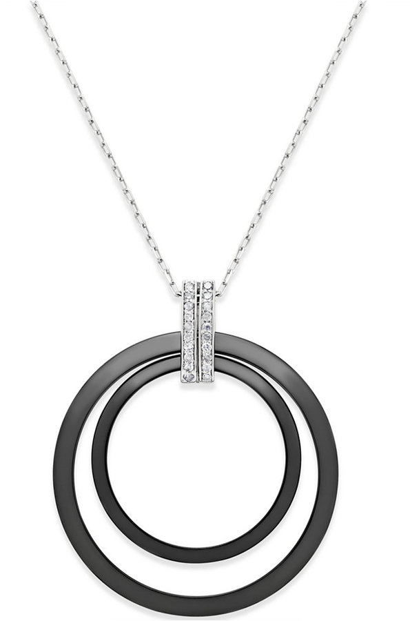 Macy's Diamond and Ceramic Circle Pendant Necklace (1/5 ct. t.w.) in Sterling Silver