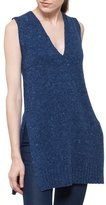 Akris Punto V-Neck Sleeveless Mélange A-Line Wool-Cashmere Sweater
