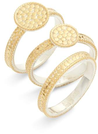 Anna Beck Gold Plate Disc Set of 3 Stacking Rings