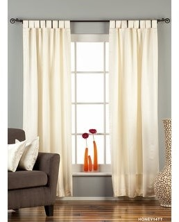 Indian Selections Cream Tab Top 90% blackout Curtain / Drape / Panel - Piece