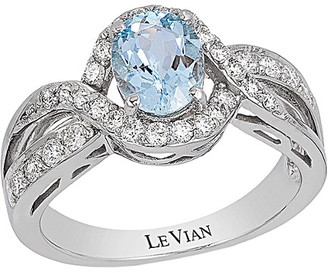 LeVian Le Vian 14K White Gold 1.49 Ct. Tw. Diamond & Aquamarine Ring