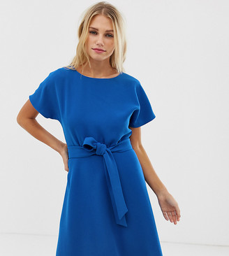 Esprit tie waist shift dress in blue
