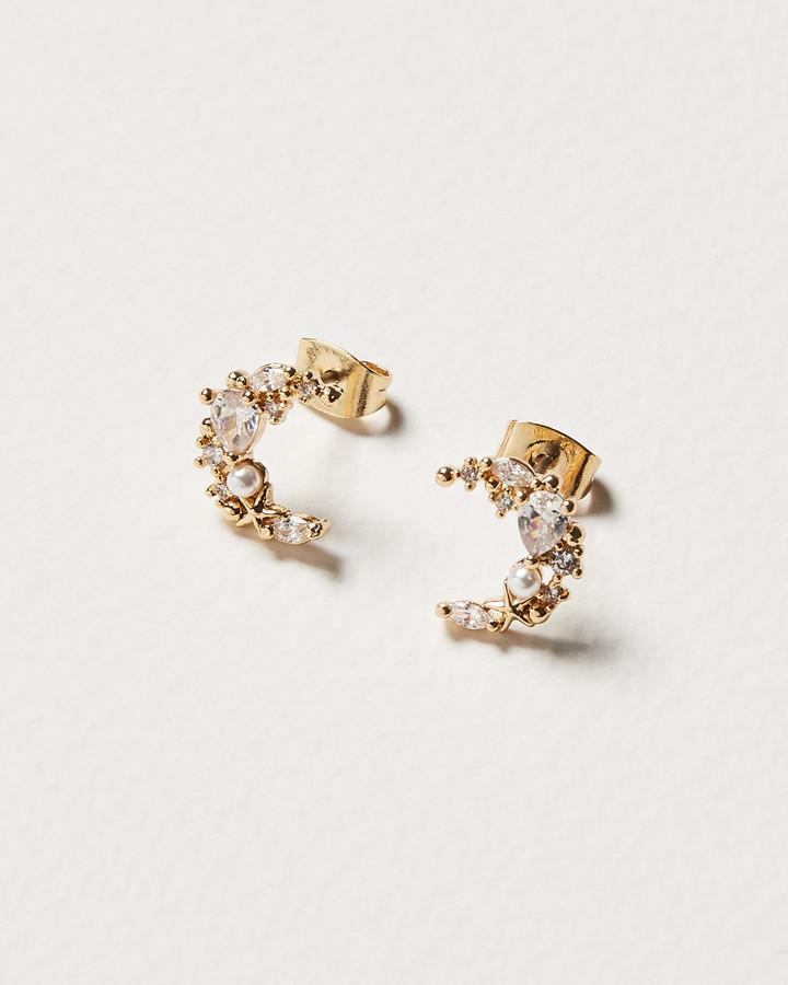 Twilight Moon Faux Pearl & Gem Stud Earrings