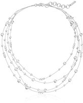 """Nine West Ignite The Night"""" Silver-Tone Double Row Beaded Illusion Necklace, 18"""" + 2"""" Extender"""
