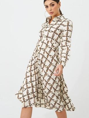 boohoo Chain Pleated Midi Dress - White