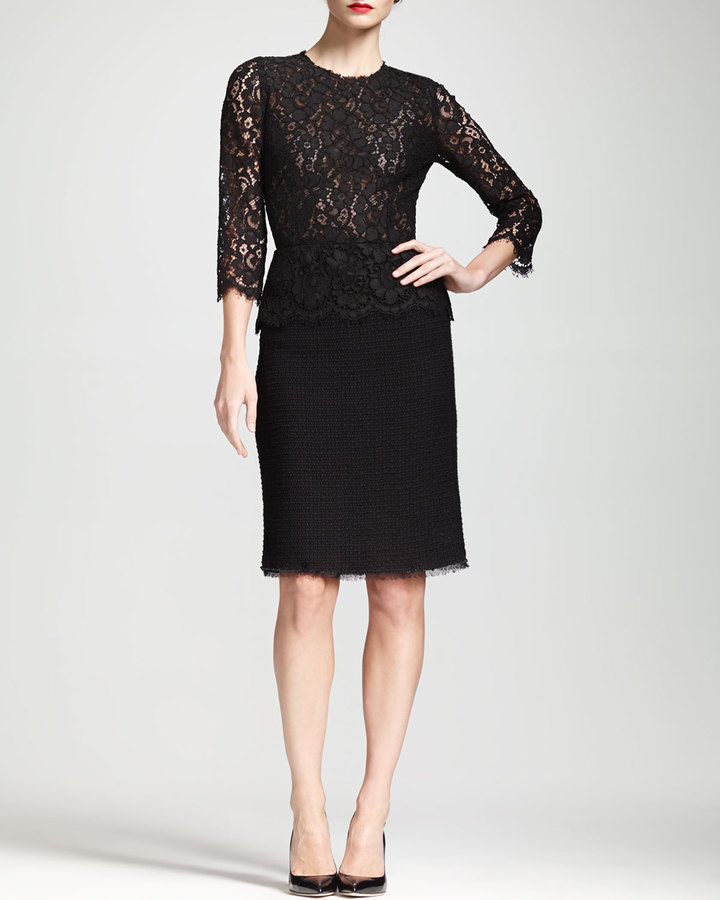 Dolce & Gabbana Lace-Bodice Peplum Dress