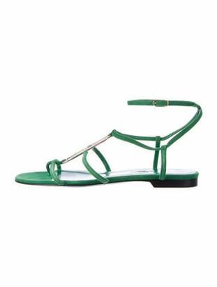 Hermes Infini Suede Gladiator Sandals Green