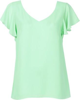 Wallis Mint Frill Sleeve Top