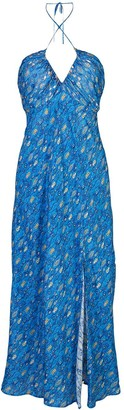 Rixo Metallic Print Halterneck Dress