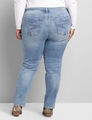 Lane Bryant Seven7 Low-Rise Straight Jean - Ripped Light Wash