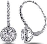 Ice 1 3/5 CT TDW Diamond 14K White Gold Halo Drop Earrings