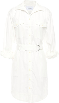 Current/Elliott The Carmel Belted Striped Cotton-jacquard Mini Shirt Dress