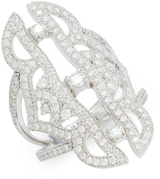 Sara Weinstock Simone 18K White Gold Diamond Spine Ring
