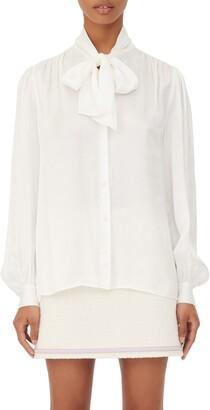 Maje Tie Neck Button-Up Shirt
