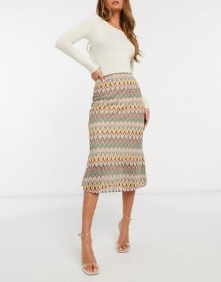 NEVER FULLY DRESSED contrast crochet knitted midi skirt in multi