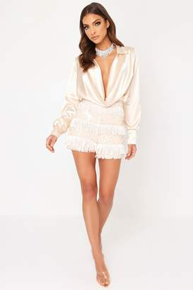 I SAW IT FIRST Nude Fringe Sequin Shorts