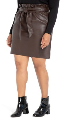 ELOQUII Belted Faux Leather Miniskirt
