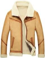 Jinmen Men's Lapel Faux Fur Jackets Winter warm Luxury Coat Parka
