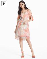 White House Black Market Petite Cold Shoulder Pleat Sleeve Watercolor Print Dress