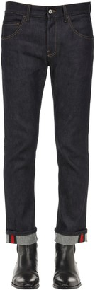 Gucci 17.5 Cotton Blend Jeans W/ Web Detail