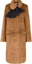 Isa Arfen Camel Embossed Velvet Coat
