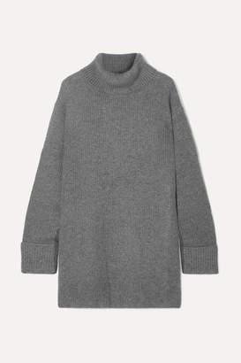 Le Kasha - Arles Ribbed Cashmere Turtleneck Sweater - Light gray