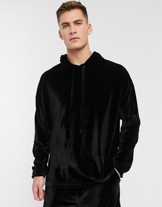 Asos DESIGN pyjama short and oversized hoodie set in black velour