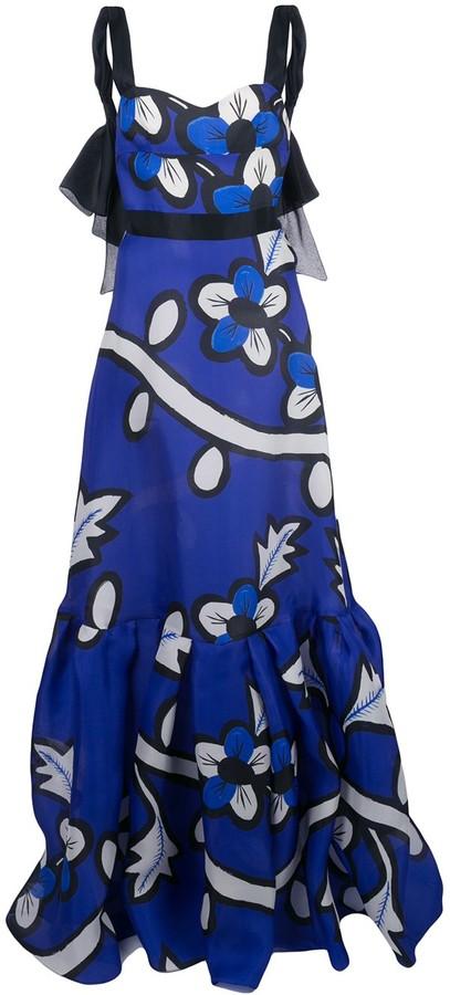 Carolina Herrera Floral Print A-Line Gown