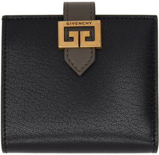 Givenchy Black and Taupe Small GV3 Bifold Wallet