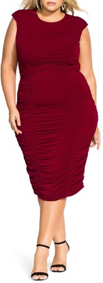 City Chic Ruched Sheath Dress