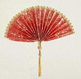 "Kurt Adler Asian Fusion Beaded Red Fan with Gold Tassel Christmas Ornament 9.5"""