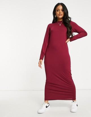 ASOS DESIGN long-sleeved maxi T-shirt dress in berry