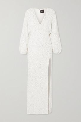 retrofete Camille Sequined Chiffon Maxi Dress - White