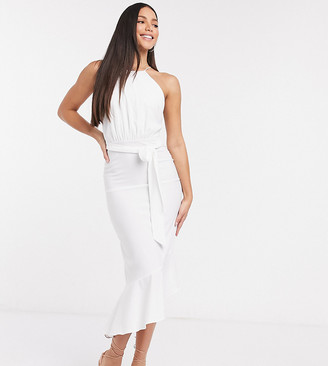 John Zack Tall sleeveless tiered midi dress in white