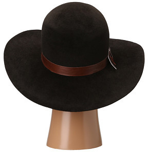 Hat Attack Velour Felt Round Crown Floppy w/ Leather & Metallic Band Trim